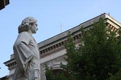 Statue of Leonardo Da vinci in Piazza della Scala, Milan, Italy. Details on Statue of Leonardo Da Vinci in Piazza della Scala, Milan, Italy royalty free stock images