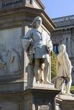 Statue of Leonardo da Vinci at Piazza della Scala, Milan, Italy. Statue of Leonardo da Vinci at Piazza della Scala, details of plinth, Milan, Italy royalty free stock photos