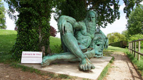 Statue of  Leonardo da Vinci at village of Amboise Royalty Free Stock Photo