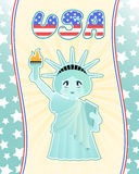 Statue of liberty. Cute statue of liberty on americam style background Royalty Free Stock Photography