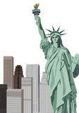 Statue of Liberty. Background illustration with Statue of Liberty and New York skyscrapers