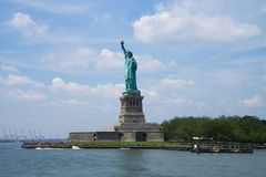 Statue of Liberty. Sunny day on the Liberty island stock photo