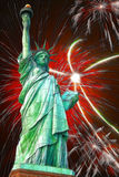 Statue of Liberty. And fireworks in black sky Royalty Free Stock Photo