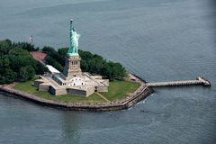 Statue of liberty aerial view royalty free stock photos