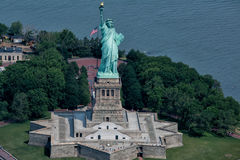 Statue of liberty aerial view Stock Images