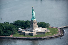 Statue of liberty aerial view Stock Photos