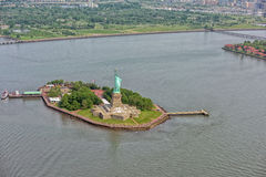 Statue of liberty aerial view Royalty Free Stock Photo