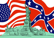 Statue of Liberty against the background of the flags of the United States and the Confederate Rebel. Hand drawn sketch. Vector EPS 10 Stock Image