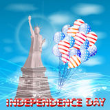 Statue of liberty against the blue sky. And airshares fly up. Illustration for your design. Fourth of July. Day of independence. USA Stock Images