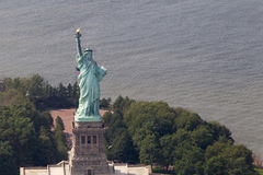 Statue of Liberty from air. Statue of Liberty, New York city, photo taken from air Royalty Free Stock Photo