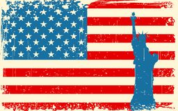 Statue of Liberty on American Flag Royalty Free Stock Image