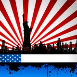 Statue of Liberty on American Flag Backdrop Stock Photo
