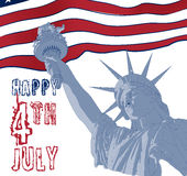 Statue of Liberty with american flag on the background. Design for fourth july celebration USA. American symbol. Stock Photo