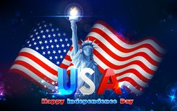 Statue of Liberty with American Flag. Illustration of Statue of Liberty on American flag background for Independence Day Stock Photos