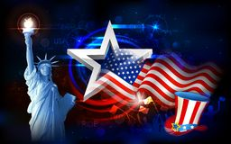 Statue of Liberty with American Flag stock illustration