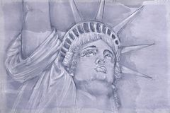 Statue of Liberty with antique base. Vintage base stock images