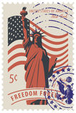 Statue of Liberty in background of american flag. Postage stamp with statue of Liberty in background of american flag and the word freedom forever. Vector Royalty Free Stock Image