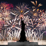Statue of Liberty on the background of fireworks Stock Images