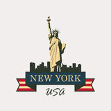 Statue of Liberty in background of New York Royalty Free Stock Image