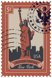 Statue of Liberty in background of New York city. Postage stamp with statue of Liberty in background of New York skyscrapers and the word freedom forever. Vector Royalty Free Stock Image