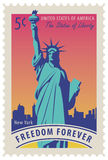 Statue of Liberty in background of New York city. Postage stamp with statue of Liberty in background of New York skyscrapers and the word freedom forever. Vector Royalty Free Stock Photos