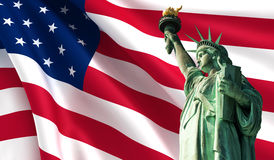 Statue of Liberty. On the background of USA flag Stock Photography
