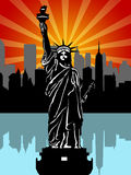 Statue of Liberty Black and White Illustration Royalty Free Stock Images