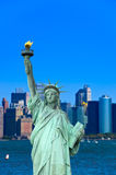 Statue of Liberty on blue clear sky, New York City, USA royalty free stock images