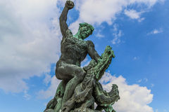 Statue of Liberty in Budapest. Man killing a dragon in the monumental complex of Statue of Liberty in Budapest, Hungary royalty free stock photos