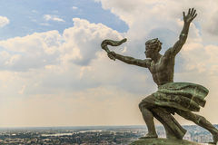 Statue of Liberty in Budapest. Man with a torch in the complex of the Statue of Liberty in Budapest, Hungary stock photo