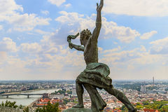 Statue of Liberty in Budapest. Man with a torch in the complex of the Statue of Liberty in Budapest, Hungary stock image