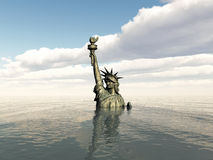 Statue of Liberty after a cataclysm. Statue of Liberty undet the sea after a cataclysm Royalty Free Stock Photos
