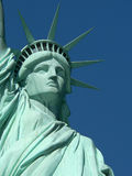 Statue of Liberty, Close up. Lady liberty against a clear blue sky royalty free stock photography