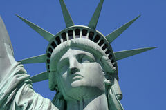 Statue of liberty close up. On sky background Royalty Free Stock Image
