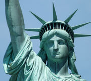 Statue of liberty. Close up of the Statue of Liberty New York showing the head on a sunny day Stock Photo