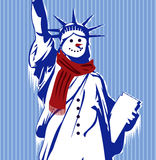 Statue of Liberty with cold and scarf. By MrNobody illustrator, these cartoons can be used for commercial purposes and fashion themes Stock Photography