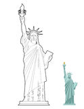 Statue of Liberty coloring book. Symbol of freedom and democracy. In USA. Monument of architecture in linear style. Sculpture in New York vector illustration