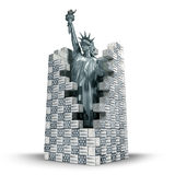 Statue of Liberty confined in american wall, blue. Statue of Liberty confined in walls made of american flag bricks. Illustration of Immigration`s US Politics Royalty Free Stock Image