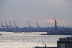 Statue of Liberty and Cranes Royalty Free Stock Images