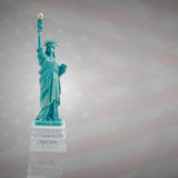 Statue of Liberty on a dark flag of America Stock Images