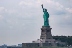 Statue of liberty dedicated on October 28, 1886 is one of the most famous icons of the USA stock images