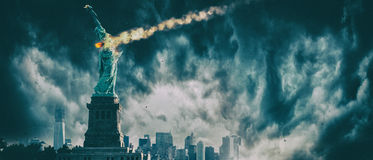 Statue of Liberty destroyed by a meteor | New York city Apocalypse. Statue of Liberty under heavy meteor shower stock image