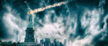 Statue of Liberty destroyed by a meteor | New York city Apocalypse. Statue of Liberty under heavy meteor shower royalty free stock photography