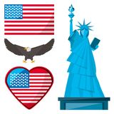 Statue of liberty, eagle and american flag. Vector illustration Stock Image