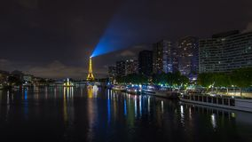 The Statue of Liberty and the Eiffel Tower night Timelapse hyperlapse. Paris, France. The Statue of Liberty and the Eiffel Tower night Timelapse hyperlapse stock video