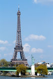 Statue of liberty and Eiffel tower in Paris Stock Photos