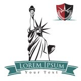 Statue Of Liberty 1. Emblems with  black outline of Statue Of Liberty and crown Stock Photography