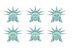 Statue of Liberty emoji. emotion set. Aggressive and good US lan Royalty Free Stock Photo