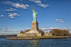 Statue of Liberty. With entire island Stock Image