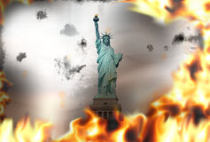 Statue of Liberty fire flames burning background. Hot graphic illustration Stock Photos